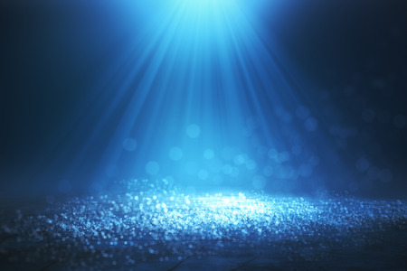 Abstract glowing blurry bokeh spotlight background Stock Photo