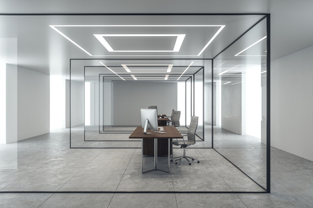 Bright concrete office interior with glass walls and workplace. 3D Rendering