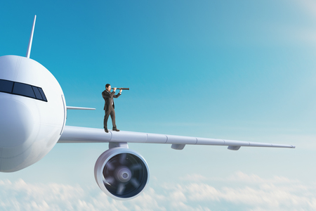Businessman looking at airplane with telescope. Research and transport concept. 3D Rendering Stock Photo