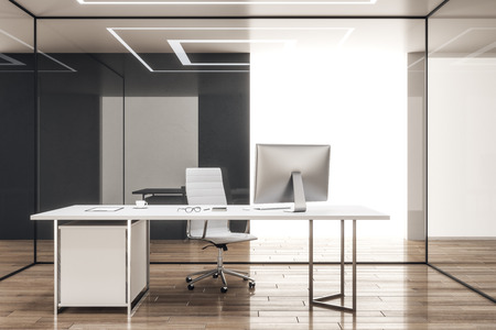Clean office interior with glass walls and workplace. 3D Rendering