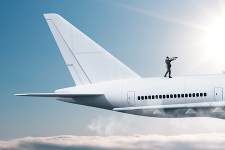 Businessman looking at airplane with telescope. Search and freedom concept. 3D Rendering Stock Photo