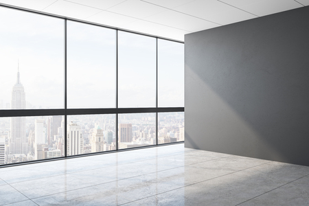 Modern unfurnished office interior with blank concrete wall and panoramic city view. Mock up, 3D Rendering