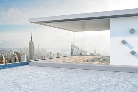 Creative rooftop with bright New York city view and abstract glass see through interior. 3D Rendering Banco de Imagens