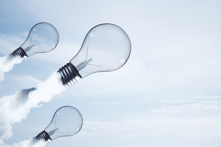 Abstract launching light bulbs on light background. Startup and solution concept. 3D Rendering
