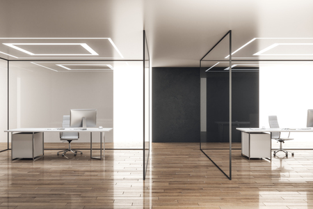 Contemporary office interior with glass walls and workplace. 3D Rendering