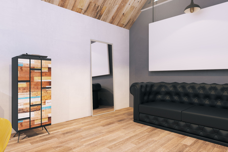 Modern office interior with empty frame and sofa. Mock up, 3D Rendering Stock Photo