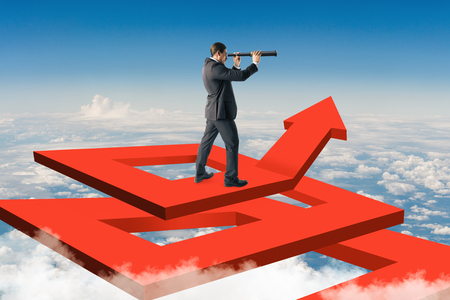 Businessman on abstract red arrow maze using binoculars to look into the distance on sky background. Growth and risk concept. 3D Rendering Stok Fotoğraf