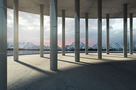 Modern interior with columns and beautiful mountain view. 3D Rendering 스톡 콘텐츠