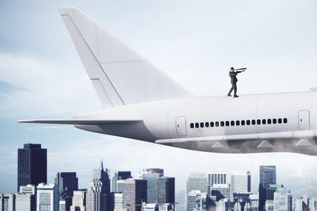 Businessman looking at airplane with telescope. Research and freedom concept. 3D Rendering