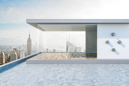 Light rooftop with bright New York city view and abstract glass see through interior. 3D Rendering