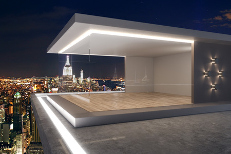 Luxury rooftop with night New York city view and abstract glass see through interior. 3D Rendering