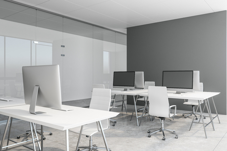 Modern coworking concrete office interior. 3D Rendering Stockfoto