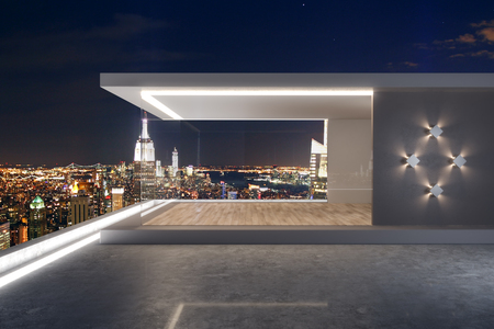 Urban rooftop with night New York city view and abstract glass see through interior. 3D Rendering Banco de Imagens - 118786712