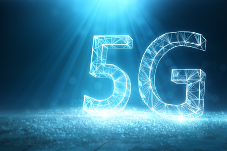 Abstract digital polygonal 5G background. Internet speed concept. 3D Rendering