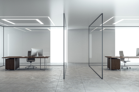 Contemporary concrete office interior with glass walls and workplace. 3D Rendering Banco de Imagens