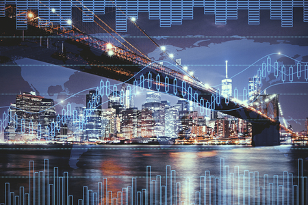 Night city background with digital forex chart. Trade and broker concept. Double exposure
