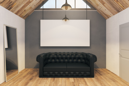 Modern office interior with empty banner and sofa. Mock up, 3D Rendering
