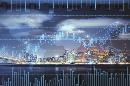 Night city background with digital forex chart. Trade and global concept. Double exposure