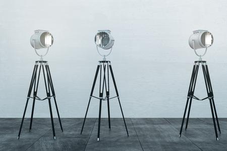 White concrete interior with professional lighting equipment. Studio concept. 3D Rendering