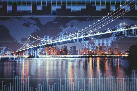 Night city background with digital forex chart. Trade and economy concept. Double exposure Stock Photo
