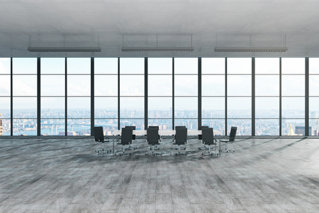 Modern meeting room niterior with panoramic city view and sunlight. 3D Rendering