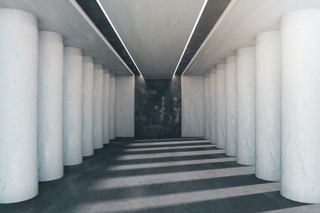 Bright concrete interior with columns and sunlight. 3D Rendering 스톡 콘텐츠