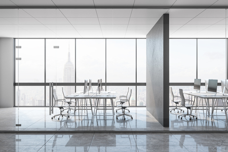 Clean concrete office interior with panoramic city view, equipment and daylight. Coworking workplace concept. 3D Rendering