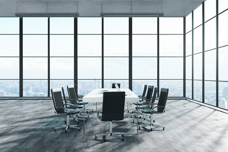 Bright meeting room niterior with panoramic city view and sunlight. 3D Rendering