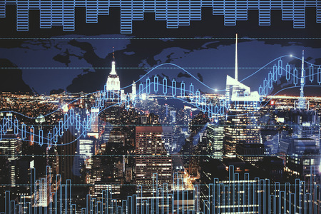 Night city background with digital forex chart. Trade and future concept. Double exposure Stock Photo