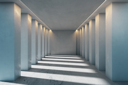 Contemporary concrete interior with columns and sunlight. 3D Rendering