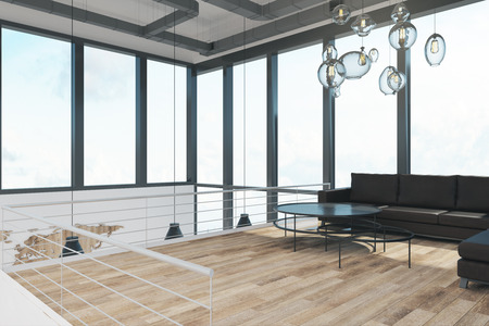 Illuminated two story office interior with panoramic window view, furniture and daylight. 3D Rendering