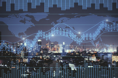 Night city background with digital forex chart. Trade and investment concept. Double exposure