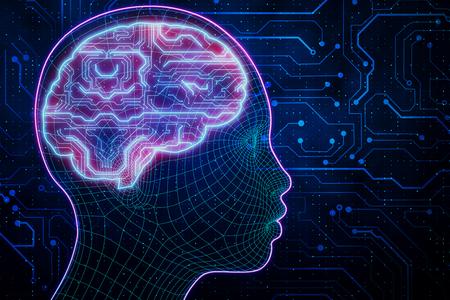 黒い背景に抽象的な輝く回路の脳の頭。人工知能と未来のコンセプト。3D レンダリング 写真素材
