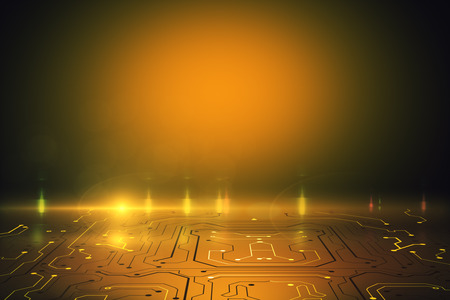 Abstract orange circuit background with copy space. Technology and communication concept. 3D Rendering