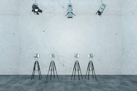 Modern concrete interior with professional lighting equipment. Studio concept. 3D Rendering Stock Photo