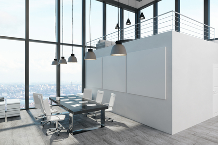 Bright spacious two storey concrete white office interior with panoramic city view and daylight. 3D Rendering