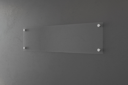 Blank glass banner on concrete wall. Mock up, 3D Rendering