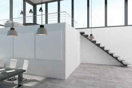 New spacious two storey concrete white office interior with panoramic city view and daylight. 3D Rendering
