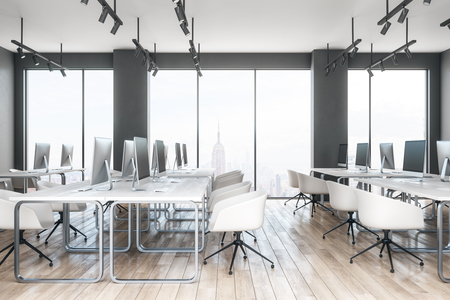 Bright coworking office interior with furniture and New York city view. 3D Rendering Zdjęcie Seryjne