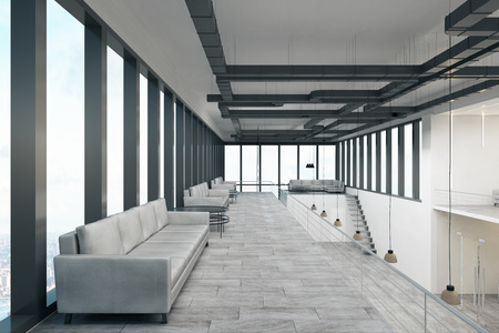 Modern spacious two storey concrete white office with panoramic city view and daylight. 3D Rendering