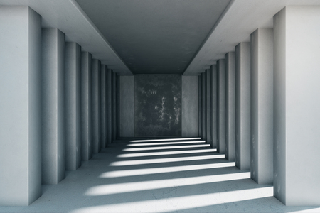 New concrete interior with columns and sunlight. 3D Rendering