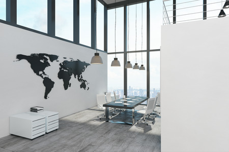 Modern spacious two storey concrete white office interior with panoramic city view and daylight. 3D Rendering