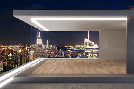 Expensive rooftop with night New York city view and abstract glass see through interior. 3D Rendering