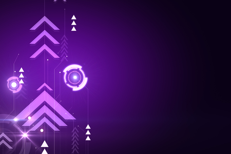 Purple digital backdrop with arrows. Play and media concept. 3D Rendering Stock fotó - 113328948