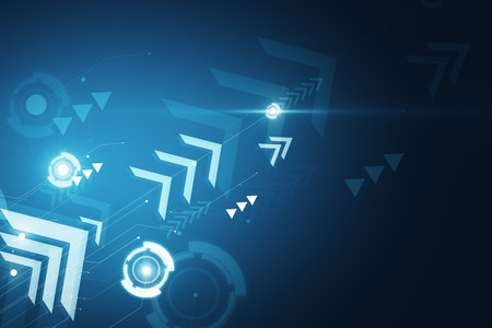 Blue digital wallpaper with arrows. Play and media concept. 3D Rendering Stock fotó