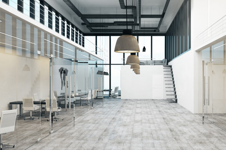 Luxury spacious two storey concrete white office interior with panoramic city view and daylight. 3D Rendering