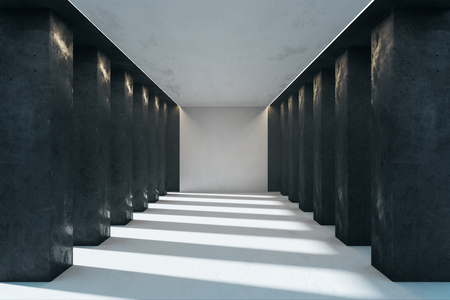 Modern concrete interior with columns and sunlight. 3D Rendering