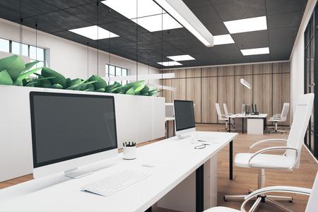 Interior de la oficina contemporánea con computadora vacía y taza de café en el escritorio. Mock up, representación 3D