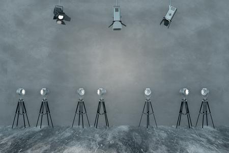 Contemporary concrete interior with professional lighting equipment. Studio concept. 3D Rendering Stock Photo