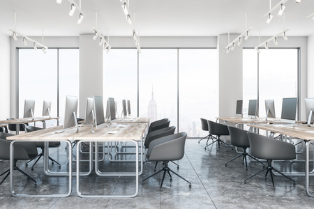 Modern coworking office interior with furniture and New York city view. 3D Rendering Zdjęcie Seryjne - 113329120